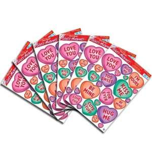 Valentine Candy Heart Glass Clings 12in. x 17in. Pkg/6