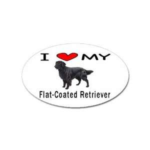 I Love My Flat Coated Retriever Oval Sticker Everything