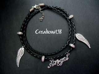 Angel Wing Black Braided Leatherette Bracelet Anklet