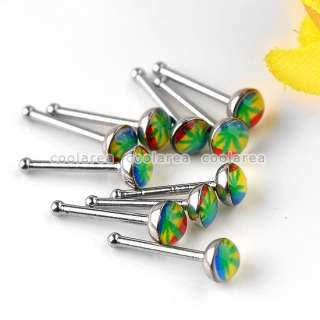 10/50/100pc Stainless Steel 20G 8 Style Plastic Nose Studs Ring Bar