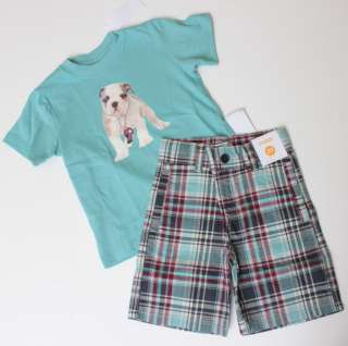 NWT Gymboree Beach Bulldog Plaid Shorts Blue Dog Top Set 3T or 4T