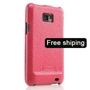 Pink Genuine Leather Case Flip Cover for Samsung i9100