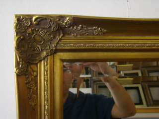 Ornate Gold Framed Wall/Mantle Beveled Mirror 31x43
