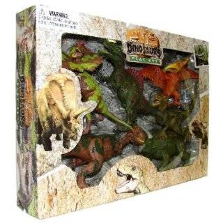 Extinct World Dinosaur Action Figure Playset: Set of 6 Dino Toys with