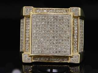 25C MENS YELLOW GOLD PAVE DIAMOND SQUARE PINKY RING