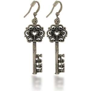 Skeleton Key Dangle Vintage Silver/Pewter Earrings by Lavishy: Jewelry