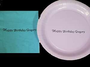 50 Personalized Wedding Cake Plates and Napkins no Logo