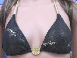 NEW BABY PHAT GOLD GLITTER BIKINI SWIMSUIT S MUST SEE