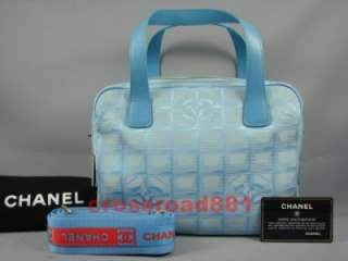 Auth Chanel Blue New Travel Line 2 Way Bag Great