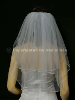 2T White Wedding Bridal Shoulder Pencil Tiara Veil