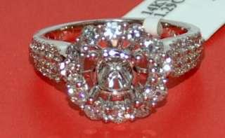 WHITE GOLD DIAMOND SEMI MOUNT VINTAGE 1.3CT 14K VINTAGE HALO DESIGN