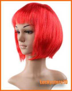 Womens Short Straight Synthetic Hair Wigs Red Yellow Gold Colors