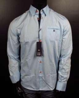 Mens Shirt STONE ROSE Blue Slim Collection LED 773 Button up Woven