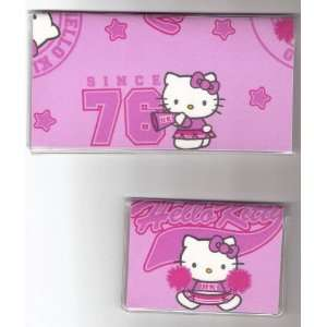 com Checkbook Cover Debit Set Made with Hello Kitty Cheerleader Pink