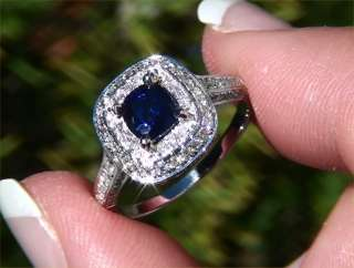 Natural Blue Sapphire Diamond Engagement Wedding Ring 14k Gold