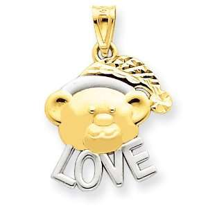 14k Gold & Rhodium Diamond  Cut Teddy Bear Love Pendant: Jewelry