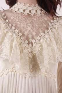 white prairie boho Pleated sheer RUFFLE LACE Wedding DRESS