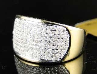 NEW MEN WOMENS 10K YELLOW GOLD ROUND CUT DIAMOND WEDDING BAND PINKY