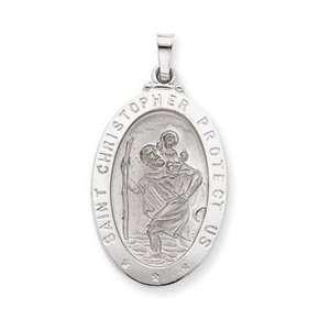 14k White Gold Saint Christopher MedalPendant: Jewelry