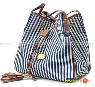 bucket cross body bag with deep blue stripe and high quality tassel.