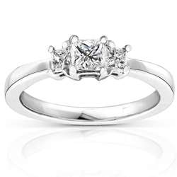 14k Gold 1/2ct TDW Princess Diamond 3 stone Ring (H I, I1 I2