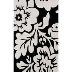 Pino Collection Black/ White Floral Rug (5 x 8)