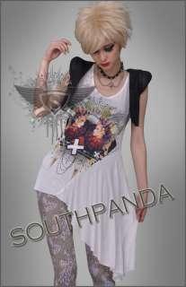 SC148 White Cropped Tank Top T shirt Punk Gothic Cross Lolita