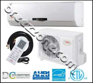 DUCTLESS MINI SPLIT HEAT PUMP 20 SEER 12000 BTU 1 TON, 25FT INS.KIT