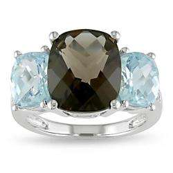 Gold Smokey Quartz, Blue Topaz and Diamond Accent Ring
