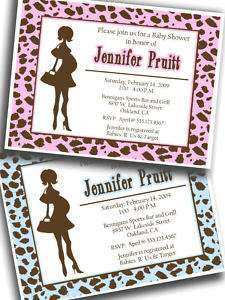 20 Baby Shower Invitations LEOPARD PRINT pink   blue 3a