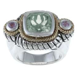 Silver and 14k Gold Green and Purple Amethyst Ring
