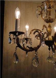 FRENCH ANTIQUE BRASS/BRONZE CRYSTAL CHANDELIER ~ LIGHT