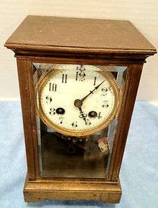 Antique Brass French Carriage Clock w/ Beveled Glass and Mercury