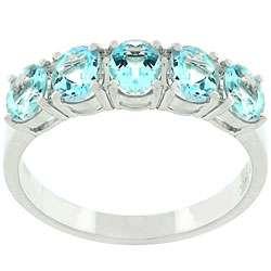 14k White Gold 5 stone Aquamarine Ring (Size 7)