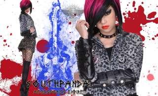 SC181 Black Punk Rock Leopard Skull Zip Jacket Coat