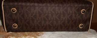 MICHAEL KORS MEDIUM BROWN LOGO WORK TOTE AND MATCHING WALLET NWT