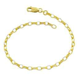 14k Two tone Gold Diamond cut Cable Link Bracelet