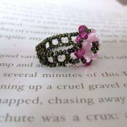Crystal Pretty Pink Beaded Flower Ring (USA)