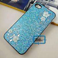 Flower Jewelry Bling Hard Case F iPhone 4 4G A275#blue