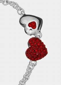 JEANS MULTI RED CONCAVE HEART CRYSTAL LOGO BANGLE BRACELET