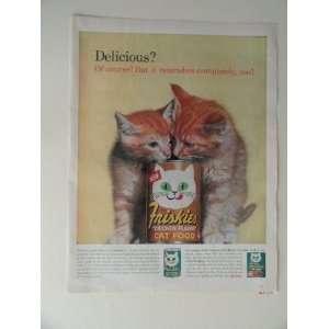 Friskies Cat Food. 1963 full page print ad(2 kittens/can