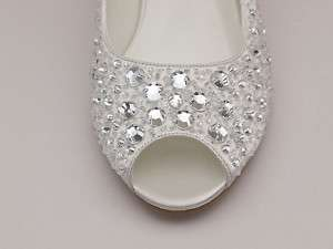 Bridal Wedding Ivory White Satin Low Heel Open toe Shoe