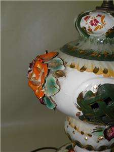 Antique Capodimonte Painted Floral Roses Pierced Lamps
