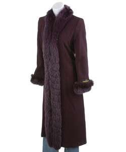 Marvin Richards Purple Fox Fur Trim Wool Coat