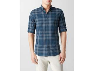calvin klein window plaid roll up sport shirt mens