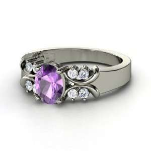 Gabrielle Ring, Oval Amethyst Sterling Silver Ring with White Sapphire