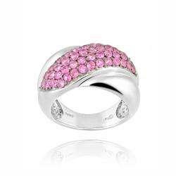 Silvertone Created Pink Sapphire Criss Cross Ring