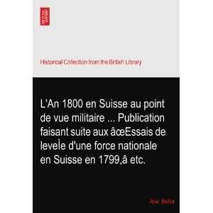 An 1800 en Suisse au point de vue militaire  Publication faisant