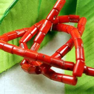 Natural Intriguing Red Coral Column Loose Beads 16Str.