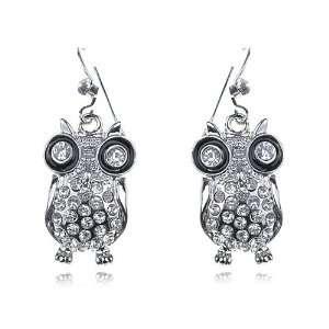 Silver Tone Crystal Rhinestone Enamel Black Eyes Night Owl